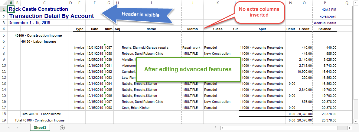 Use Advanced Options to Export QuickBooks Reports to Excel